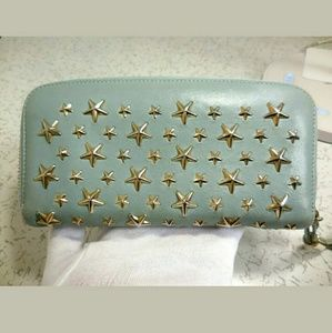 Authentic Jimmy Choo Carnaby star zippy wallet